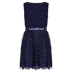 Yumi Girl - Navy Embellished Party Dress
