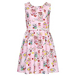 Yumi Girl - pink Tea Party Print Belted Dress