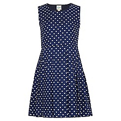 Yumi Girl - blue Heart Print Skater Dress