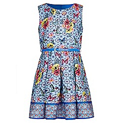 Yumi Girl - blue Tropical Tile Print Belt Dress