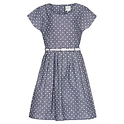 Yumi Girl - blue Spot Short Sleeve Belt Dress