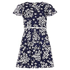 Yumi Girl - navy Floral Lace Belted Skater Dress