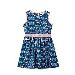 Yumi Girl - Blue geo dragonfly print cotton dress
