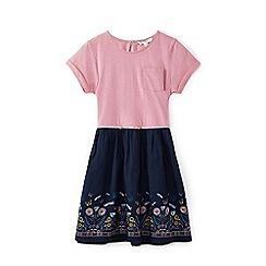 Yumi Girl - Pink dragonfly border print dress