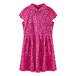 Yumi Girl - Pink embellished collar lace dress