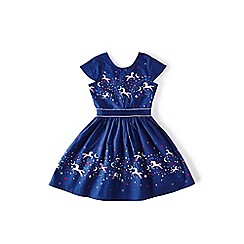 Yumi Girl - Blue galaxy unicorn scene dress