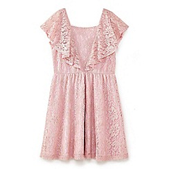 Yumi Girl - Pale pink antique lace dress with ruffles