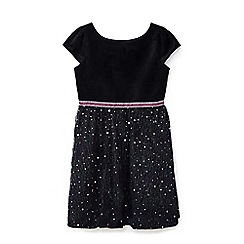 Yumi Girl - Black embellished star print dress