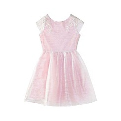 Yumi Girl - Pink embellished mesh prom dress