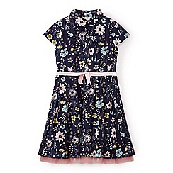 Yumi Girl - Girls' blue flower illustration cotton shirt dress
