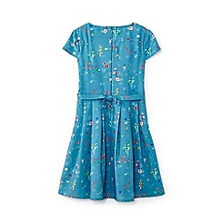 Yumi Girl - Girls' blue flower print dress with pocket dress