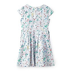 Yumi Girl - Girls' light grey flower print with pocket dress