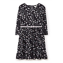 Yumi Girl - Black dandelion floral ballerina dress