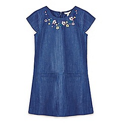 Yumi Girl - Navy floral embroidered shift dress