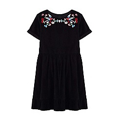Yumi Girl - Girls' black floral folk dress