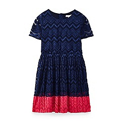 Yumi Girl - Navy lace panel dress