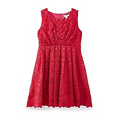 Yumi Girl - Wine love heart scalloped lace dress