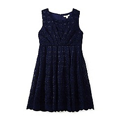 Yumi Girl - Navy love heart scalloped lace dress