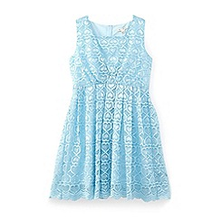 Yumi Girl - Pale blue heart scalloped lace dress