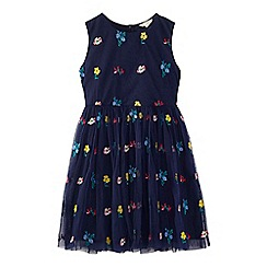 Yumi Girl - Navy embroidered floral dress