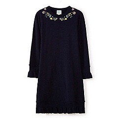 Yumi Girl - Girls' navy botanical embroidered dress