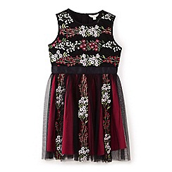Yumi Girl - Black floral woodland dress
