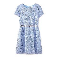 Yumi Girl - Blue short sleeve rose lace dress