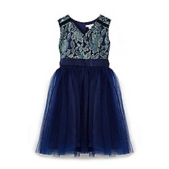 Yumi Girl - Navy lace prom dress with bow