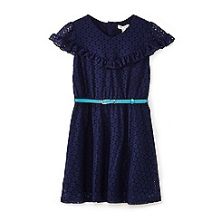 Yumi Girl - Navy lace dress with frills