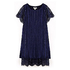 Yumi Girl - Navy crinkled velvet dress