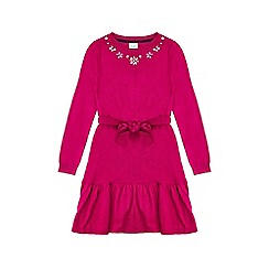 Yumi Girl - Pink peplum dress with embellished neckline