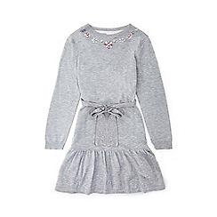 Yumi Girl - Light grey peplum dress with embellished neckline