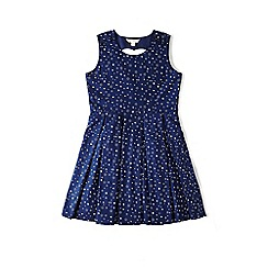 Yumi Girl - Blue star print dress with heart back