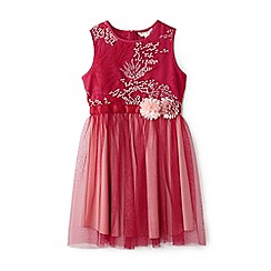 Yumi Girl - Girls' cerise embroidered tulle dress