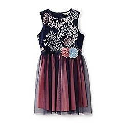 Yumi Girl - Girls' navy embroidered tulle dress