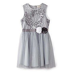 Yumi Girl - Girls' light grey embroidered tulle dress