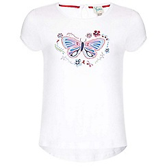 Yumi Girl - white Butterfly Sequin T-Shirt