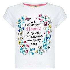 Yumi Girl - white Floral Slogan T-Shirt