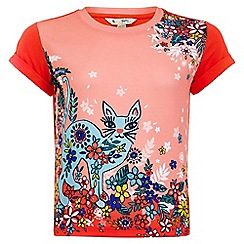 Yumi Girl - orange Moroccan Floral Cat T-Shirt