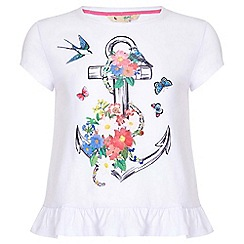 Yumi Girl - white Anchor Print Frill T-Shirt