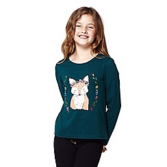 Yumi Girl - Girls' dark green floral fox print top