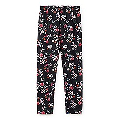 Yumi Girl - Black woodland flower print leggings