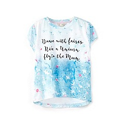 Yumi Girl - Light green printed galaxy tee