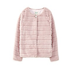 Yumi Girl - Girls' pale pink panelled textured faux fur jacket