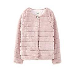 Yumi Girl - Girls' pale pink panelled textured faux fur jacket