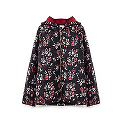 Yumi Girl - Girls' black botanical floral puffer jacket
