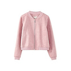 Yumi Girl - Pale pink floral embossed suedette bomber jacket