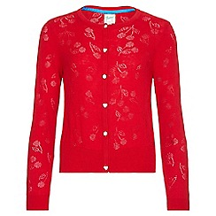 Yumi Girl - red Cherry Pointelle Knitted Cardigan