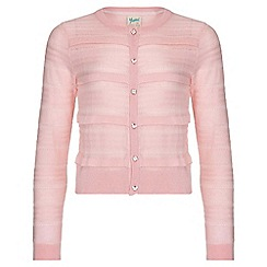 Yumi Girl - pink Pointelle Ribbed Cardigan
