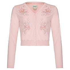 Yumi Girl - pink Embellished Crop Knit Cardigan